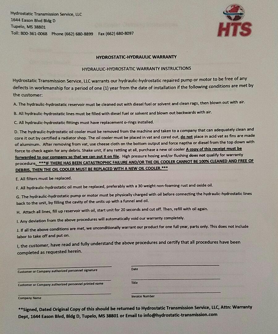 Hydrostatic Transmission Service Warranty