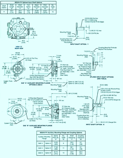 Sundstrand Sauer Danfoss Series 40PV Auxiliary Mounting Flange & Shafts