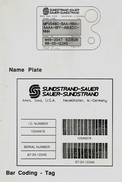 Sundstrand Sauer Danfoss Series 40 Name Plate and Bar Code Tag