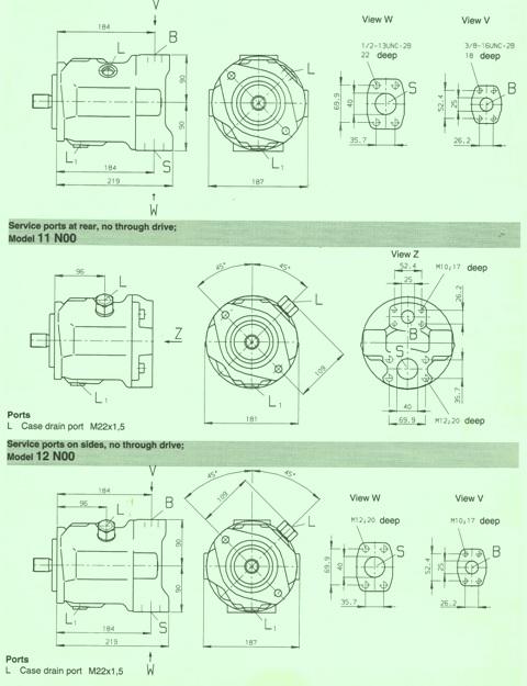 Rexroth A10V Variable Displacement Series 31 Pump Unit Dimensions 45