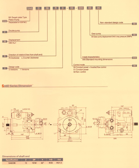 SA6D (SK35SP36C) Hydraulic Piston Pump Specs
