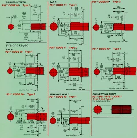 Hydraulic Oil Single & Multiple Pumps/Motors P31/ P51/ P76 – Drive Shafts