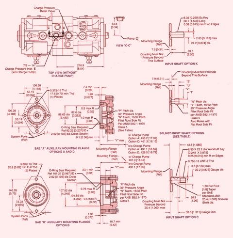 Sundstrand Sauer Danfoss Hydraulic Series 40 PV/PT Mounting flange & Shafts